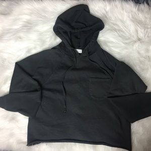Full Tilt Women's XS dark grey cropped hoodie